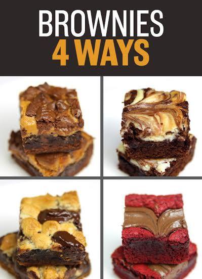 Brownies 4 Ways. - Peanut Butter Fudge Brownies - Cheesecake Brownies - S'mores Brownies - Red Velvet Nutella Brownies