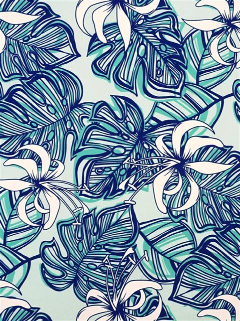 Spider Lily&Monstera Blue Poly Cotton CHOE244