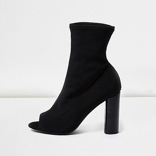 Black peep toe sock boots