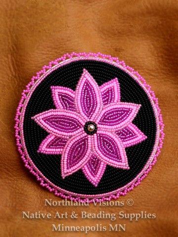 12685-Beaded-Barret-seed-bead-Round-Ojibwe-beadwork