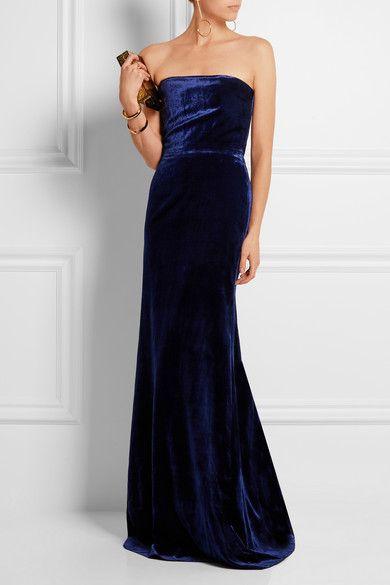 Victoria Beckham | Strapless velvet gown | NET-A-PORTER.COM