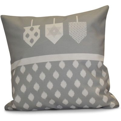 "The Holiday Aisle Hanukkah 2016 Decorative Holiday Geometric Throw Pillow Size: 20"" H x 20"" W x 2"" D, Color: Gray"
