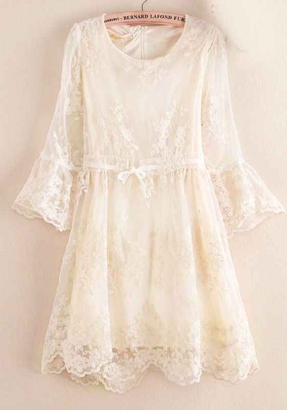 Yellow Patchwork Lace Nine's Sleeve Cotton Blend Dress