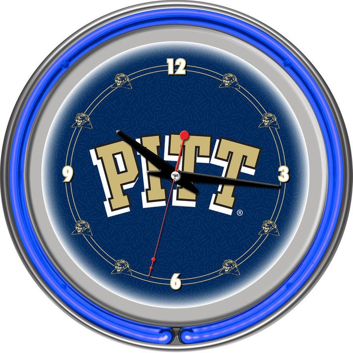 NCAA Pitt Panthers Chrome Double-Ring Neon Wall Clock