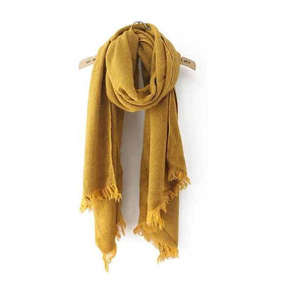 Frayed Yellow Scarf ($11) ❤ liked on Polyvore featuring accessories, scarves, yellow, yellow shawl и yellow scarves