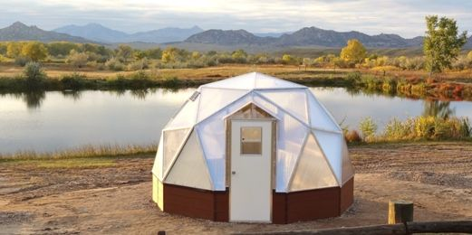 small greenhouse from Growing Spaces geodesic greenhouse kits