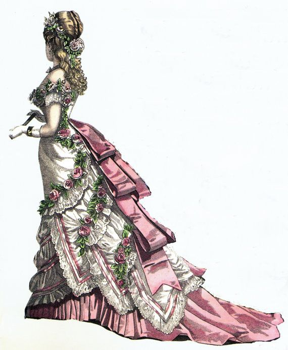 Victorian Doll Clothing Pattern 1876 Evening Gown of by digmongin, $12.50