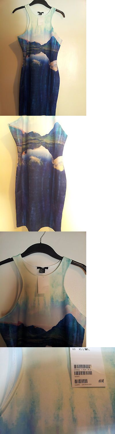 Beyonce Dresses: New Handm Beyonce In Handm Bodycon Fitted Sleeveless Patterned Blue Beach Dress M BUY IT NOW ONLY: $29.95