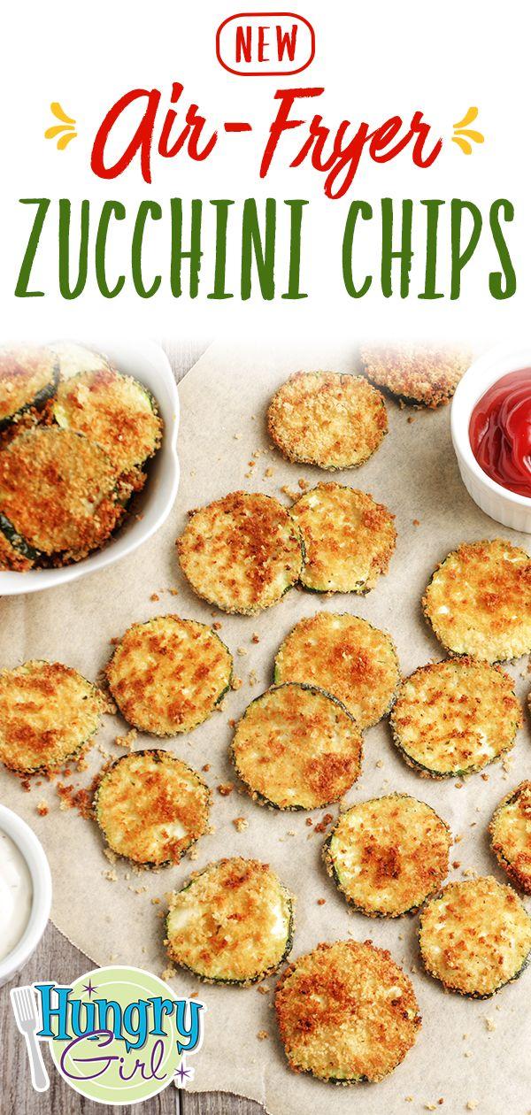 Chips di zucchine con friggitrice ad aria + Ricette per friggitrice ad aria più sane | Ragazza affamata