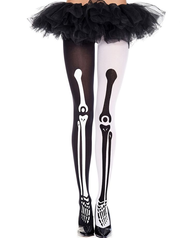 Stockings Crossbone Print Opaque Bow Top Thigh High Halloween Gothic Emo