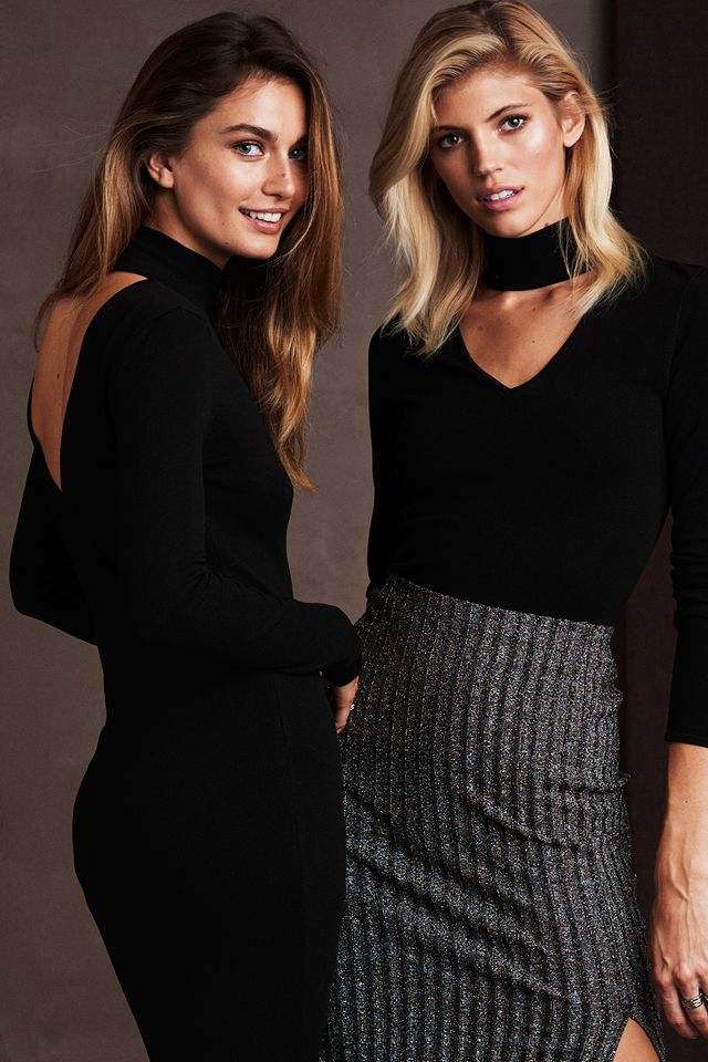 New autumn arrivals, including bodycon dresses, chiffon dresses and blouses, leather separates, checked coats and soft knits.   H&M Fall/Winter