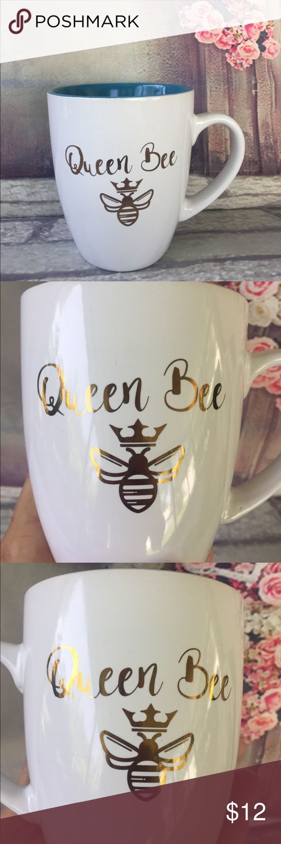 "QUEEN BEE  Coffee Mug Cute QUEEN BEE  coffee mug, white with teal color inside and ""Queen Bee"" written in gold on both sides of mug, 12 oz // Hand wash ONLY, Do not microwave// Brand New, no tags // BUNDLE & SAVE Other"