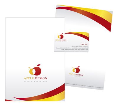 Nice Stationary design template on Yellow and Red colour scheme. Fully editable and customizable in the colours you want. Folder, letterhead and business card.