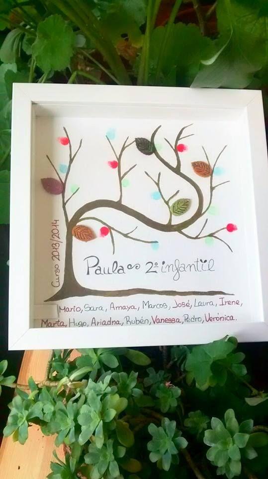 cuadro de huellas, el árbol de la vida. Regalo para profesores