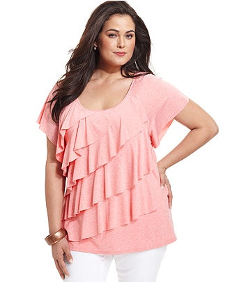 Elementz Plus Size Top, Short-Sleeve Ruffled Tiered - Plus Size Tops - Plus Sizes - Macy's
