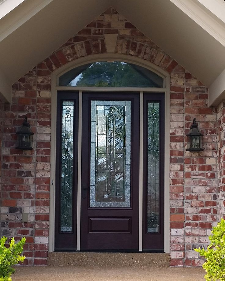 Therma Tru Fiber Classic Mahogany fiberglass entry door with 3/4 sidelites, full Lucerna glass, and custom transom. Also includes rot-resistant Dura Frame composite jamb.