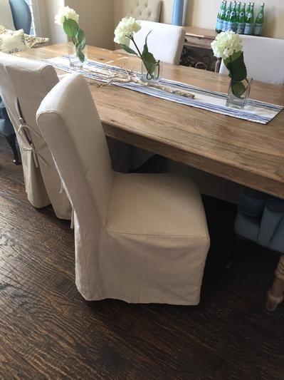 Linen Long Anna Chair Slipcover   World Market