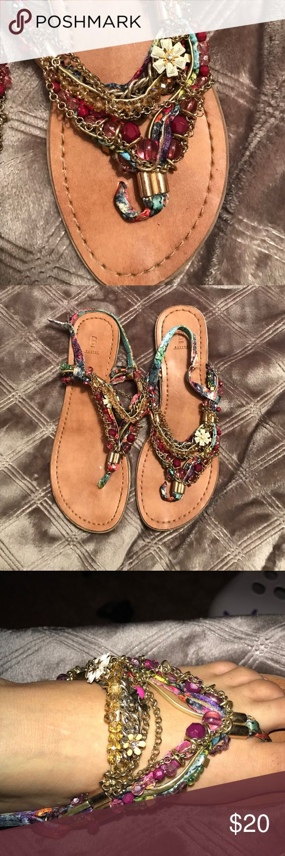 Beaded Bakers Sandals Colorful and bold Sandals featuring bead and gold chain designs Bakers Shoes Sandals