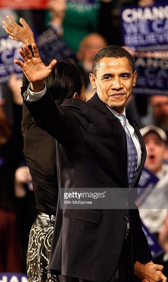 #44thPresident #BarackObama & #FirstLady #MichelleObama take the stage at a primary night rally in the gymnasium at the Nashua South High School on January 8, 2008 in Nashua, New Hampshire. Barack Obama finished a projected 2nd place behind Sen. #HillaryClinton #ObamaFamily #ObamaLegacy #ObamaHistory #ObamaLibrary #ObamaFoundation Obama.org