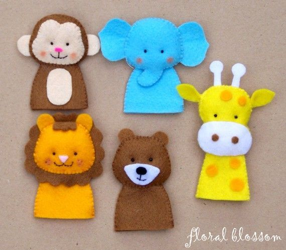 PDF Pattern Zoo Friends 01 Felt Finger Puppets by FloralBlossom