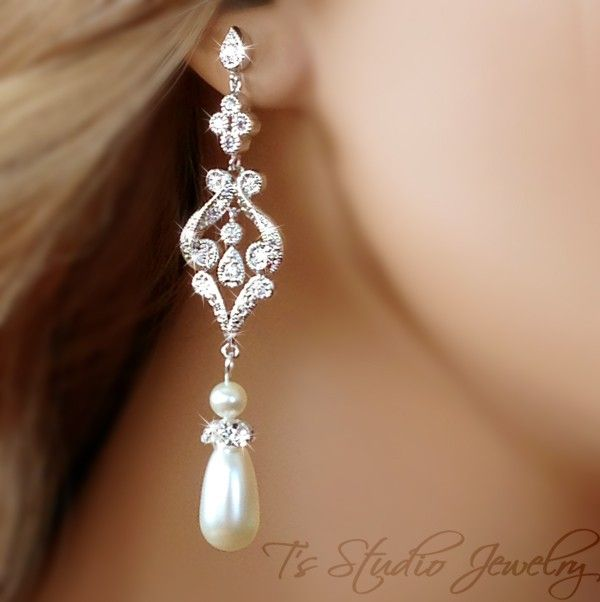 Teardrop Pearl Bridal Chandelier Earrings For By Tzstudiojewelry