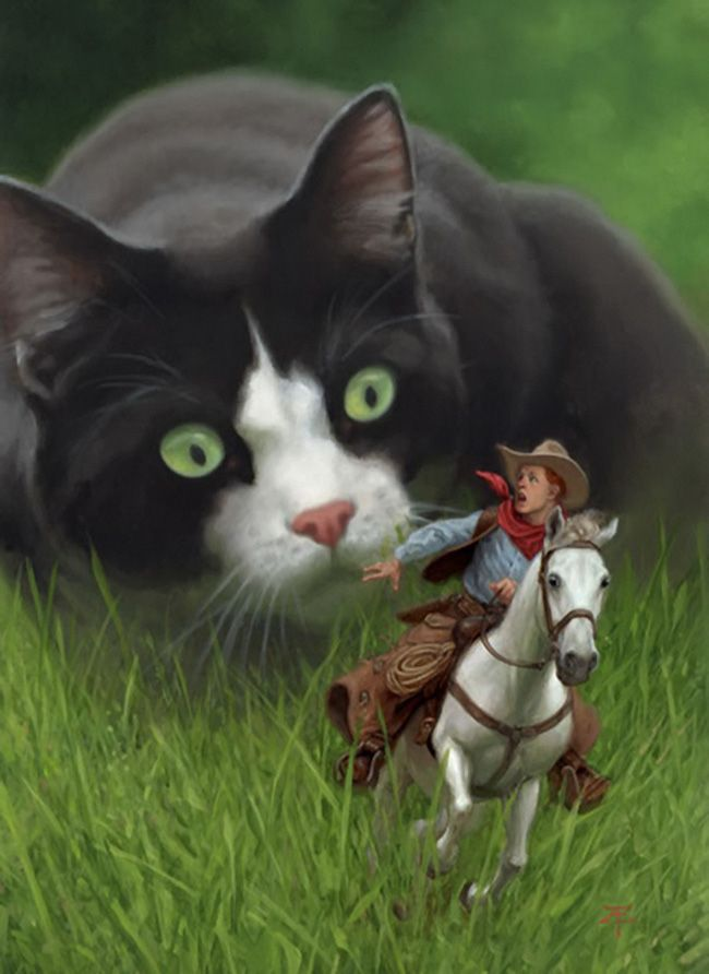 "Writing Prompt: From the story ""Indian in the Cupboard"" -- You are the cowboy, imagine that one day you found yourself in a land of giants. A young boy thinks of you as his 'toy'. He lets you ride your horse across the lawn, suddenly a giant cat sees you. What happens next? How will you get away? Finish the story using dialog, action verbs and vivid descriptions."
