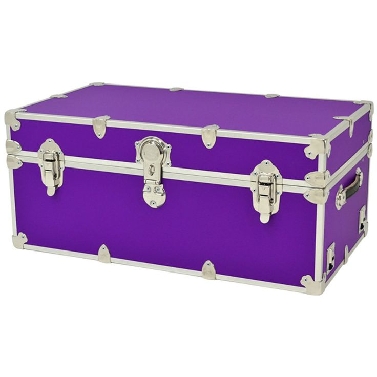 "Rhino Sticker Camp & College Trunk with Wheels & Tray - X-Large (34""L X 20""W X 15""H) - PURPLE"