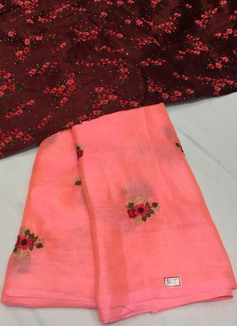 Soft Jute Thread work embroidery sarees | Elegant Fashion Wear