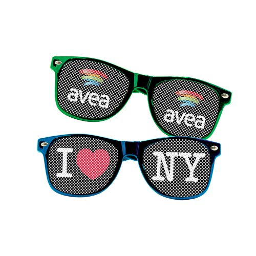 PRODUCT DETAILS  perfect summertime giveaway vibrant colors full color imprint on both UV400 tinted lenses perfect for beach themed events, school fundraisers,luau parties lenses contain small holes so that the wearer can see ultraviolet tinted lens for UV400 UVA and UVB protection PRODUCT SIZE: one size fits all