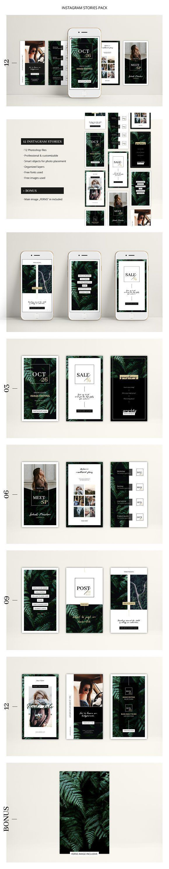 FERNS Instagram Stories Pack by AgataCreate on @creativemarket Social media creative design posts for promotion marketing design templates. Use it for quotes, tips, photos, etiquette, ideas, posts or for presentation your business agency, products sales or designs. Ready to use on Instagram, Pinterest, Facebook, Twitter your Blog or Website. #socialmedia #socialmediamarketing #instagram #design #stories #post #pinterest #feminine #story