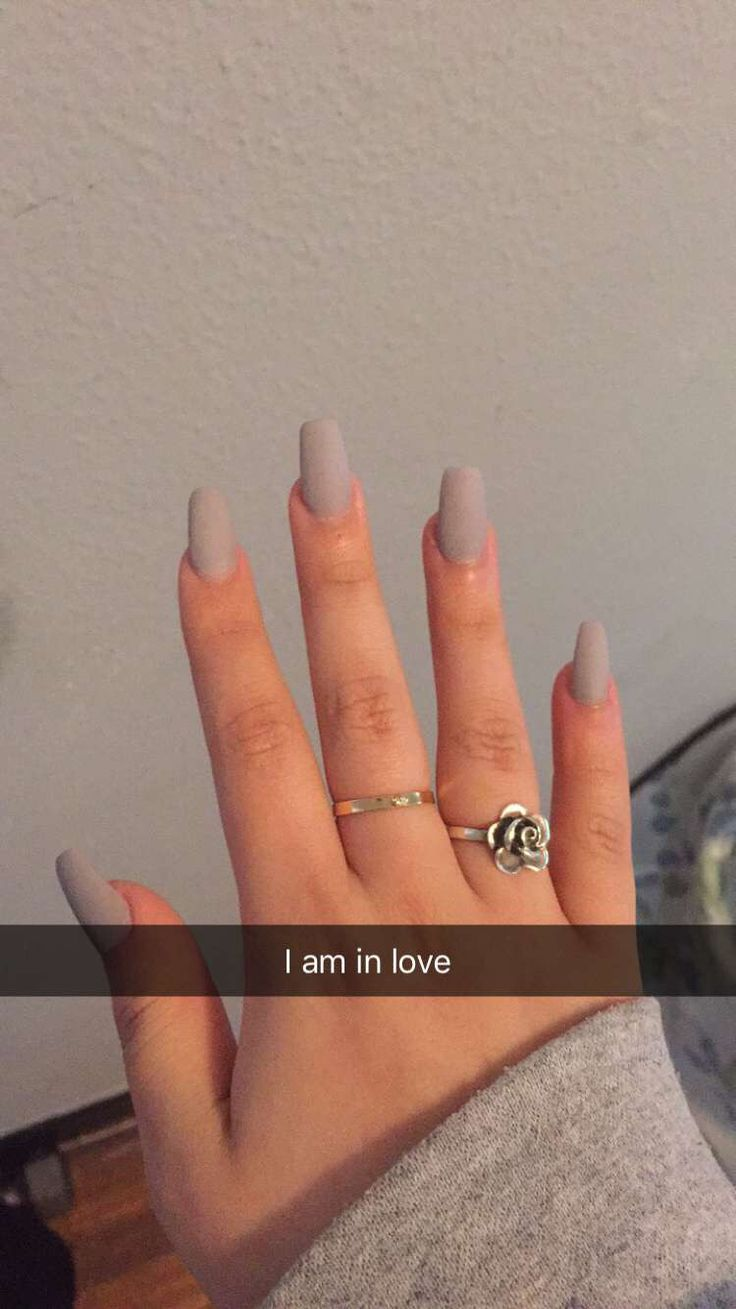 So I went a little rebellious today and chose a light gray color instead of a nude, you can never go wrong with a coffin shaped matte nail