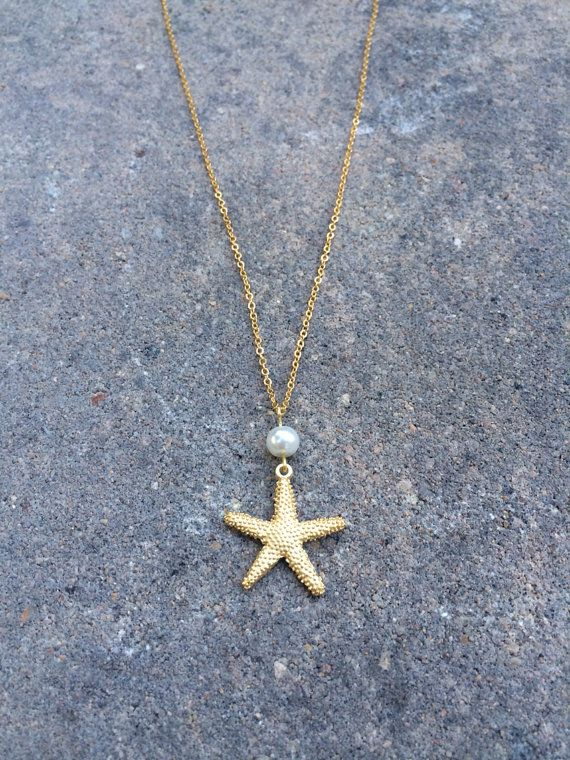 Gold & Pearl Starfish Necklace by MeaningfulRandomness on Etsy, $28.00 summer beach jewelry