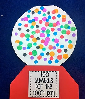 100 gumballs for the 100th day of school with dot markers