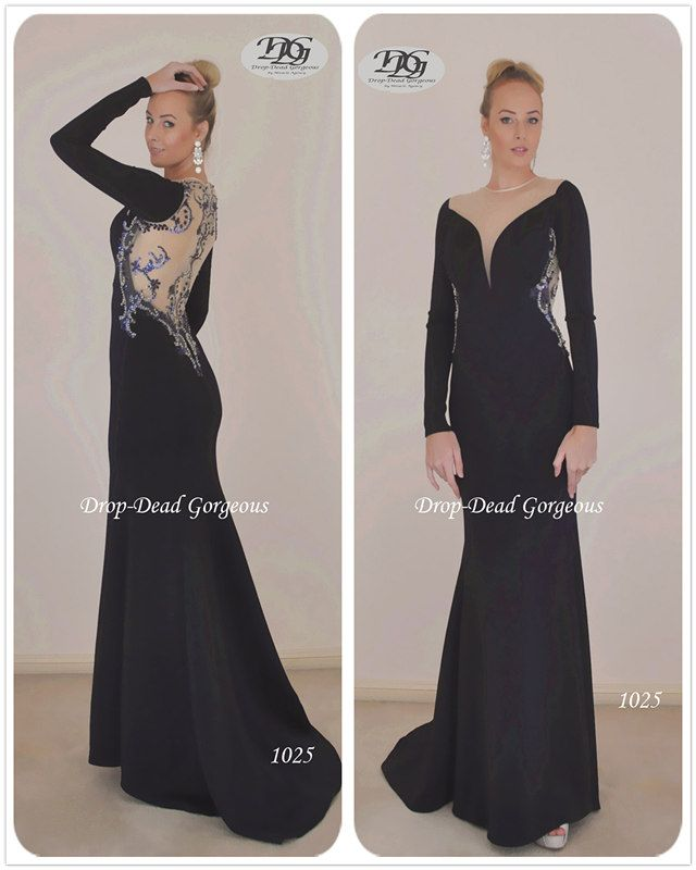 Mother of the bride Dress: Luxury neoprene fabric long sleeve gown featuring a sweet heart plunging neck and a beaded back gown.    #DDGMA #DropDeadGorgeous #MiracleAgency #Weddingdress #weddings #Mothersofthebridedress #Mothers www.miracleagency.net
