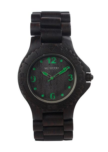 Eco friendly WeWood Wood Watch - Kale Black-Green. 100% natural wood. $120 WeWood New Zealand.