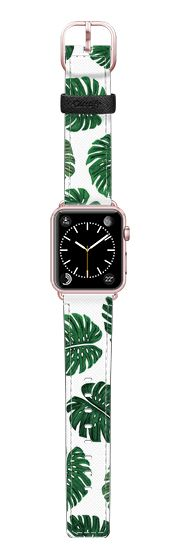 Casetify Apple Watch Band (42mm) Saffiano Leather Watch Band - Tropical Green Watercolor Painted  Swiss Cheese Plant Leaves  by BlackStrawberry #Casetify