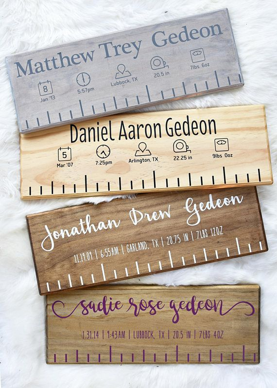 Never forget how big your baby was when they were born! Our handmade custom birth rulers are cut to be the length of your baby at birth and proudly display their birth stats with the cutest icons for their nursery or photos. Our birth rulers are made of premium, high grade, white