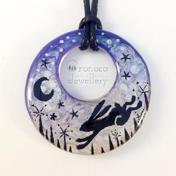 Moon gazing hare necklace moon hare pendant fantasy