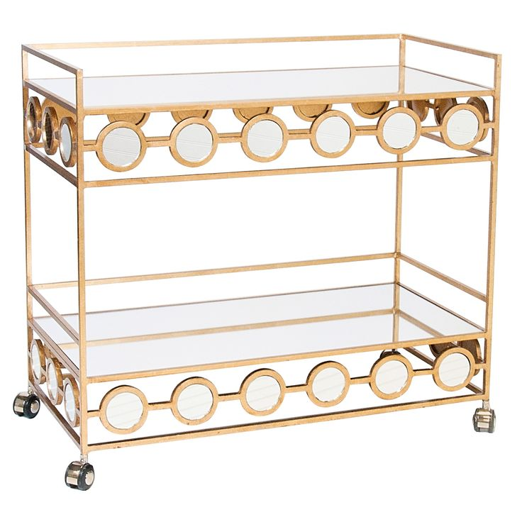 Yes, a great bar cart, but I imagine filling it with beautiful (yet functional) displays of makeup, perfume and Oribe hair products for the dressing room or bathroom. -- Worlds Away Carr Gold Leafed Bar Cart @Zinc_Door