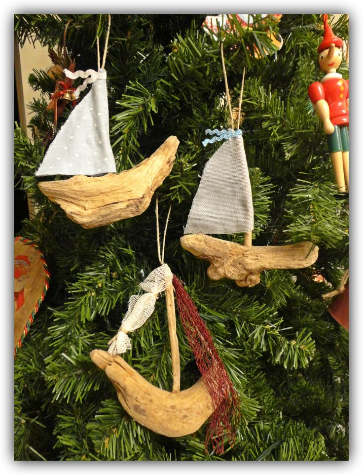 Driftwood sailboats christmas ornaments