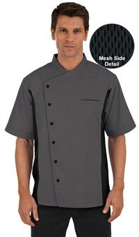 Basic Fit Short Sleeve Chef Coat - Snap Front - 65/35 Poly/Cotton Twill Style #  64717 #chefuniforms #cooking #mensclothing #chefcoats