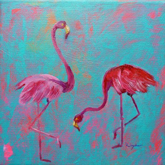 Flamingo VII oil painting flamingo art tropical bird por karmastau, €58.00