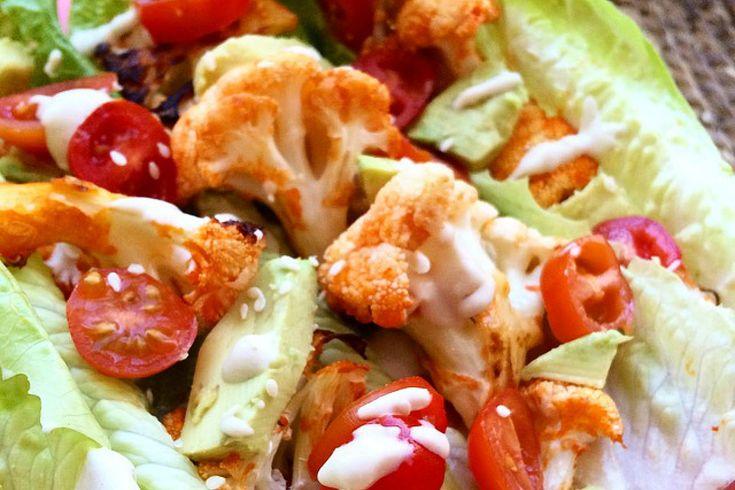 Buffalo Cauliflower Lettuce Wraps [Vegan, Gluten-Free]
