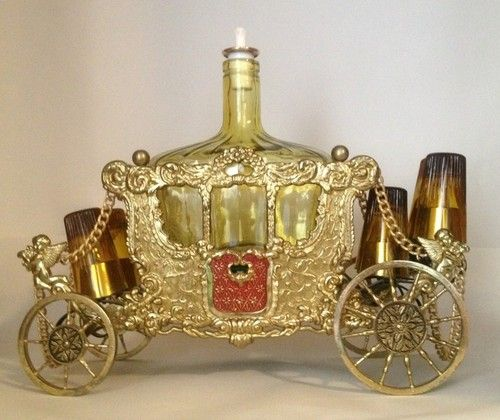 Vintage Music Box Bar Decanter  Golden Carriage