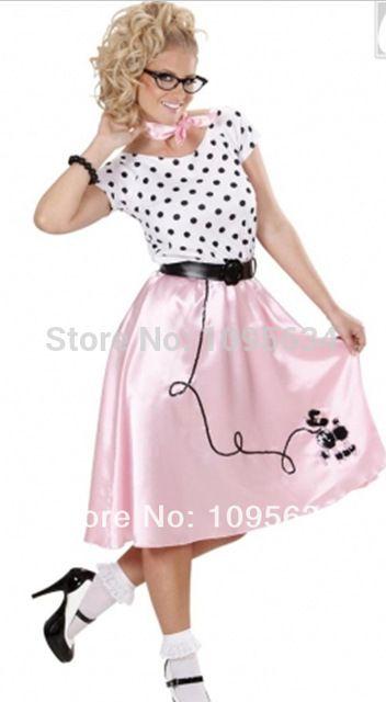 Para mujer libres del envío todos los tamaños del punto de polca de los años Ladies Bopper chica caniche disfraz despedida de soltera de Halloween sml XL 2XL