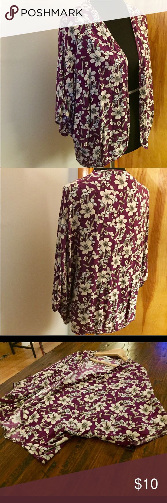Floral Cover-Up Purple with white flowers, this top is lightweight and flowy with dolman sleeves. No front enclosure. Worn once. Peacocks Tops