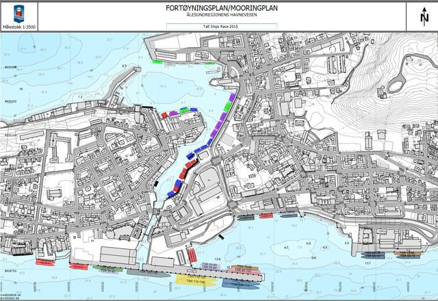 This is a temporary map of the berthing area during The Tall Ships Races Ålesund 2015.