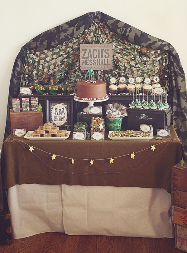 Creative Toy Soldier Camo Birthday Party -– Mess Hall food dessert table with food trays, soldier-approved treats a camo netting backdrop
