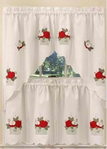 Apples Kitchen Curtains Swag Set