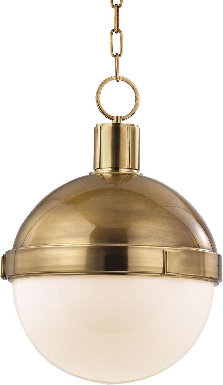 aged brass globe pendant from hudson valley